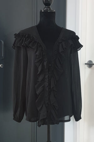 peggy minnie bagira sheer black frill top