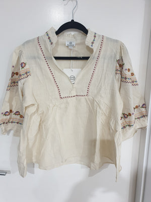 Pink Diamond - Cream Embroidered Top