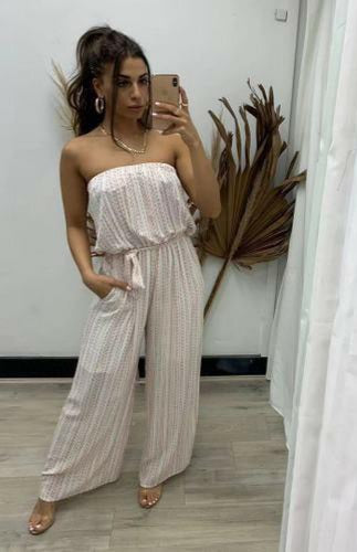 Pink Diamond Rust Striped Strapless Jumpsuit