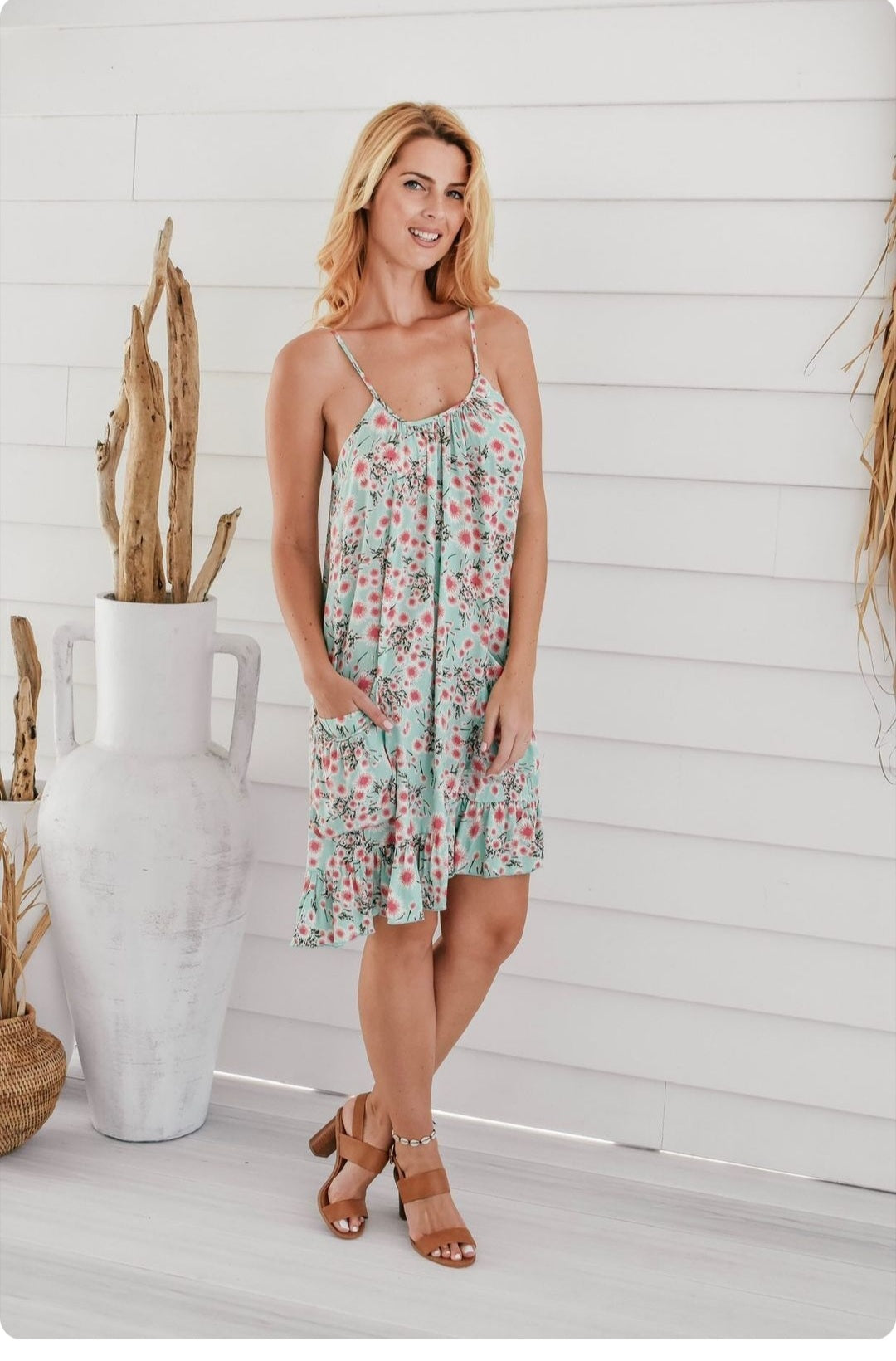 Zen Garden - Strappy Mint Sun Dress