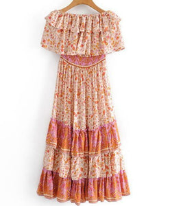 Pink Diamond -Pink Floral Strapless Maxi Dress
