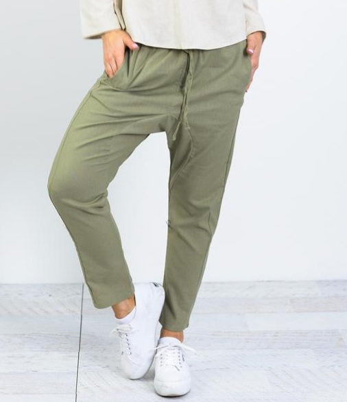 Ebby and I Khaki Linen Drop Pants
