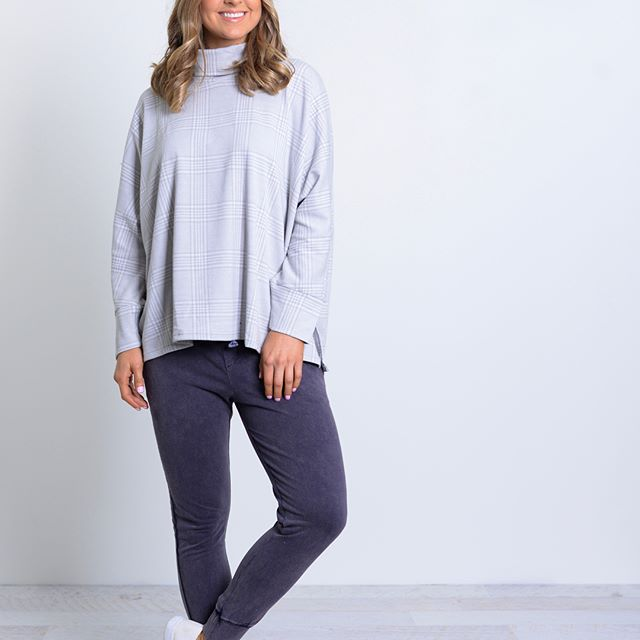Ebby and I - Check Roll Neck Top Grey