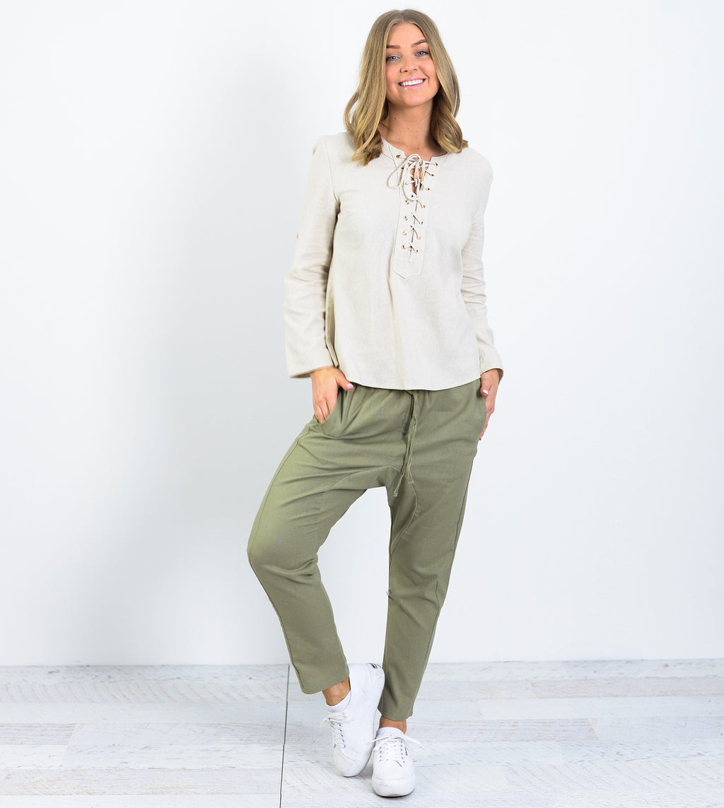 Ebby and I - Khaki Linen Drop Pants