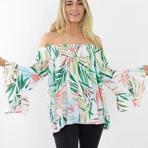 peggy minnie label of love floral off the shoulder top
