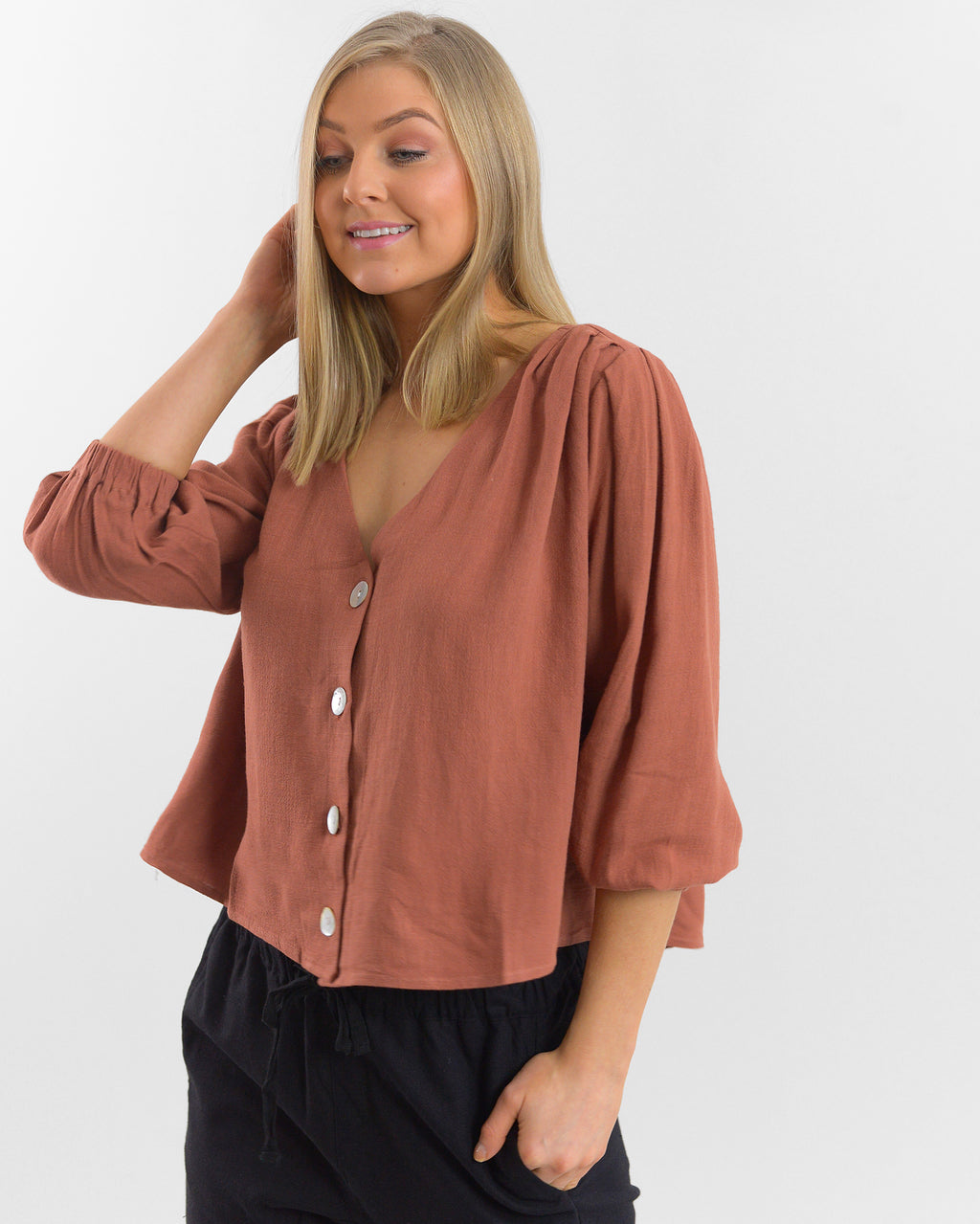 Ebby and I - Button up Rust Top