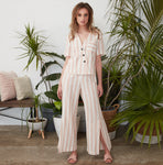 Ebby and I Pink Striped Linen Pants