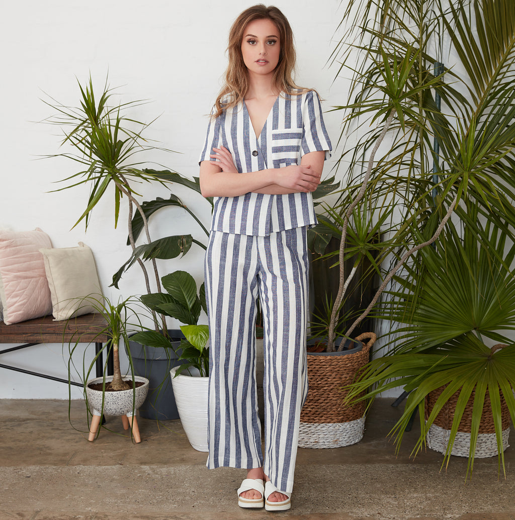 Ebby and I - Navy Linen Striped Pants