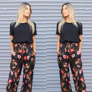 Society Addict - Black Floral Pants