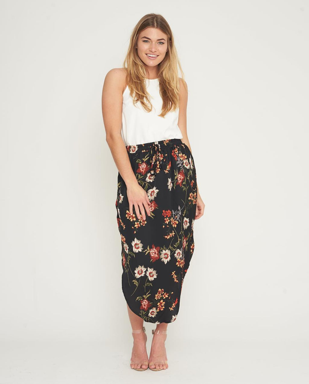 White Closet - Black Floral Skirt