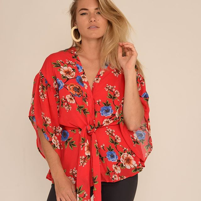 White Closet - Red Floral Top
