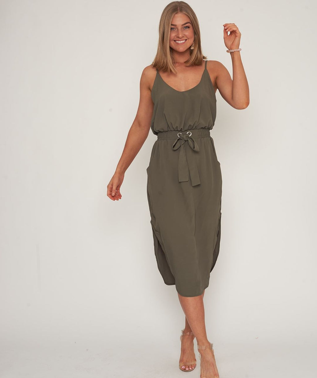 Ebby & I - Summer Dress in Khaki