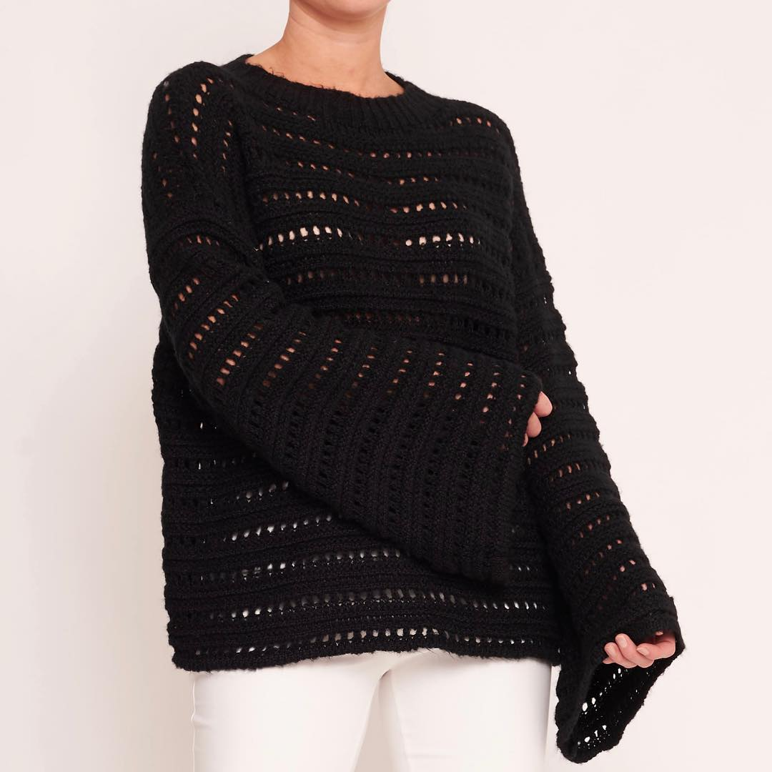 White Closet - Black Knitted Top