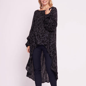 White Closet - Charcoal Leopard Hi-Lo Top