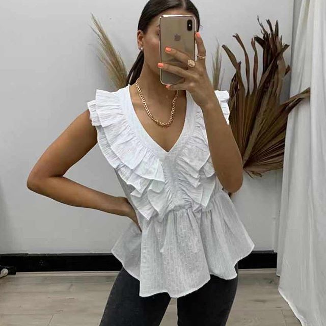 Pink Diamond White Frill Top