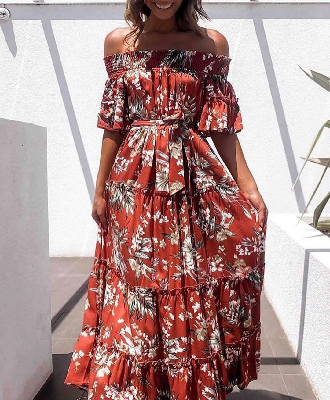 Pink Diamond - Burnt Orange Off the Shoulder Maxi Dress
