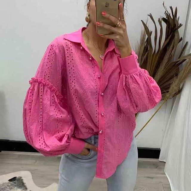 Pink Diamond Hot Pink Puffy Sleeve Top