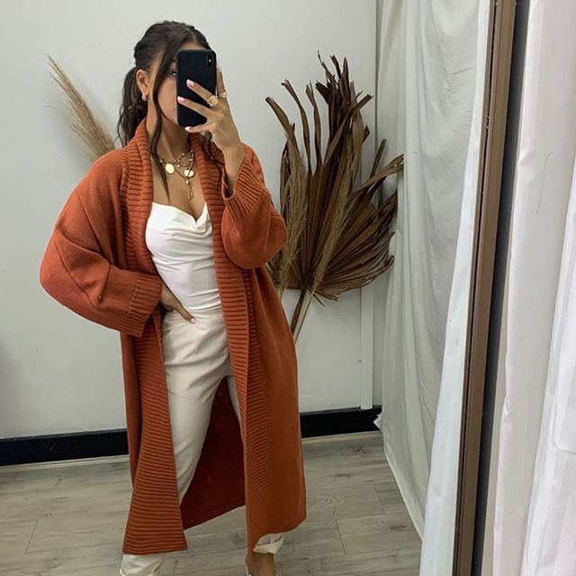 Pink Diamond - Rust Knitted Oversized Cardi