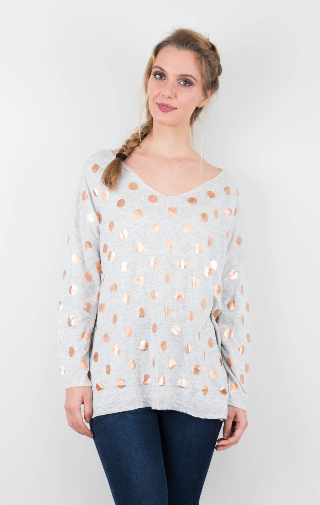 peggy minnie boho australia grey spotted top