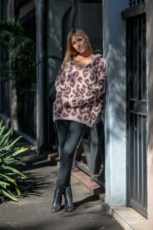 peggy minnie boho australia pink leopard knitted jumper