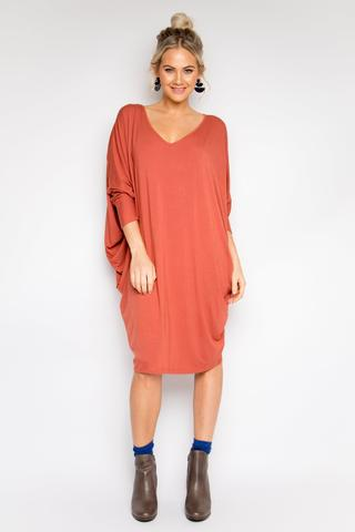 PQ Collection - Bamboo Miracle Dress Long Sleeve in Cayenne