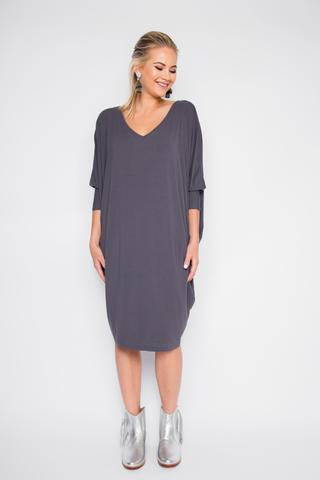 PQ Collection - Bamboo Miracle Dress Long Sleeve in Navy