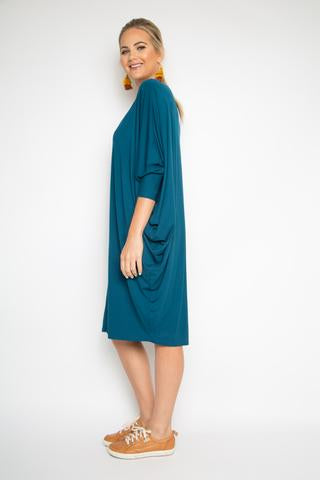 PQ Collection - Bamboo  Miracle Dress Long Sleeve In Teal