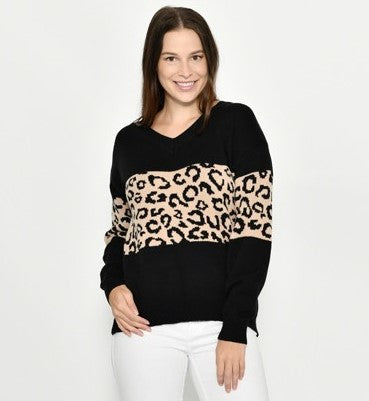 Cali & Co Black and Beige Leopard Block Jumper