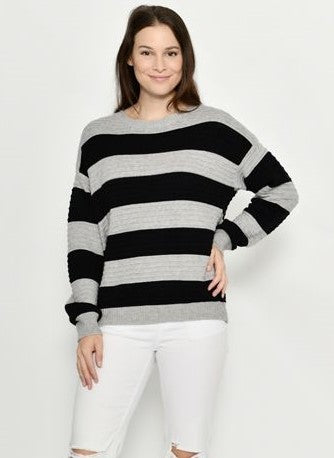 Cali & Co Black and Grey Striped Jumper