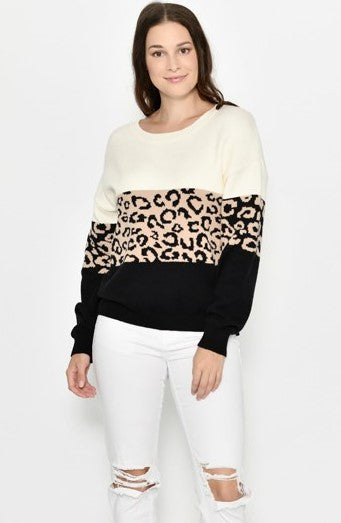 Cali & Co Cream and Beige Leopard Block Jumper