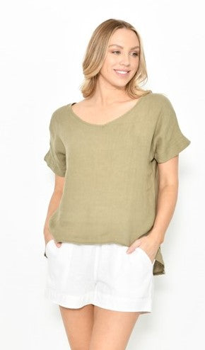 Cali & Co Khaki Linen Top
