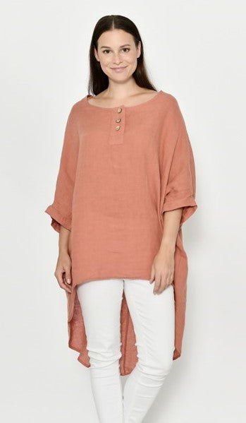 Cali & Co Long Rust Linen Top