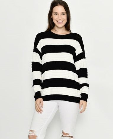 Cali & Co Black and White Striped Jumper
