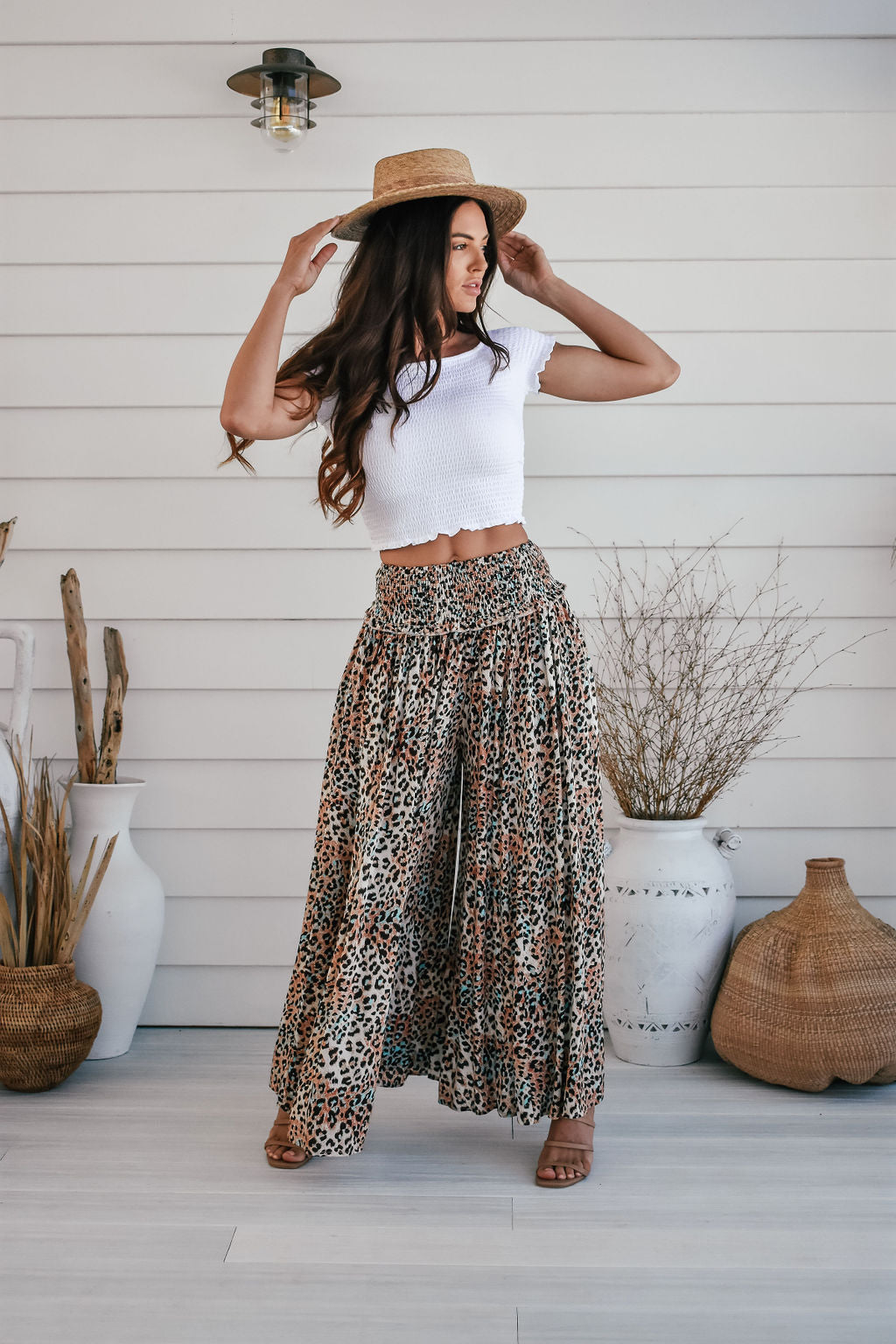 Zen Garden Multicoloured Leopard Print Wide Leg Pants