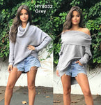 Pink Diamond - Grey Off The Shoulder Knitted Top