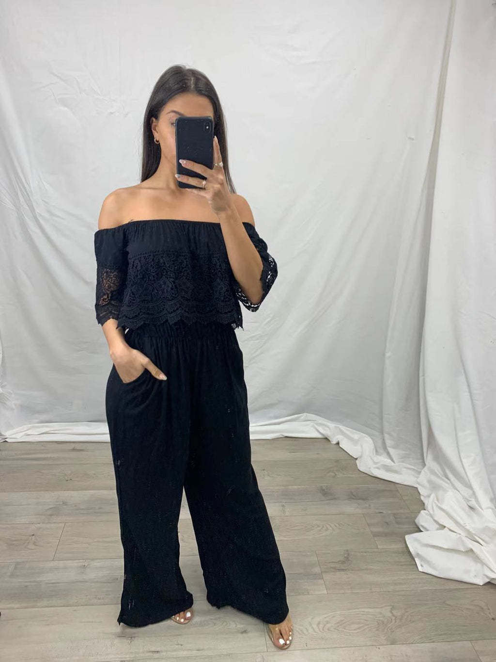 Pink Diamond Black Off the Shoulder Jumpsuit