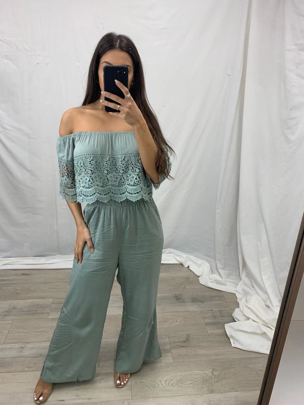Pink Diamond Sage Off the Shoulder Jumpsuit