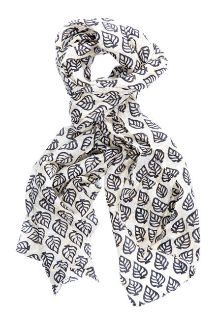 GJ Design - Black Leaf Silk Scarf