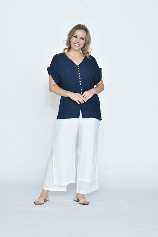 LaMode - Wooden Button Navy Top