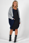 PQ Collection Over Sized Block Cardi Stone/Navy