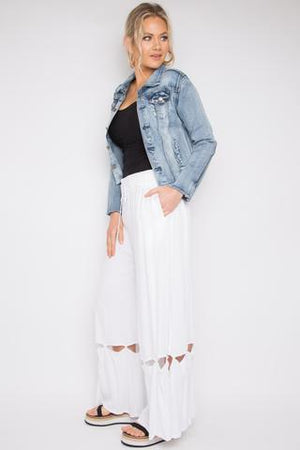 PQ Collection - Hitched Wide Leg Pants in White