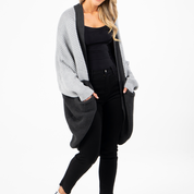 PQ Collection Over Sized Block Cardi Stone/Charcoal