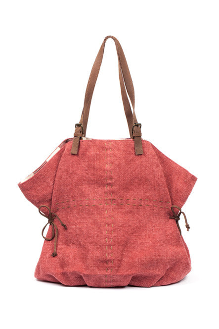 Where The Wilde Things Are - Jute Slouch Tote - Egyptian Red