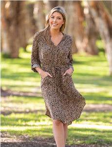 Boho Australia - Long Sleeve Leopard Dress