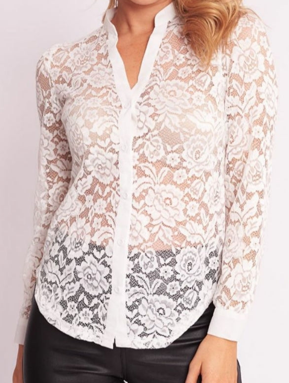 Ebby and I White Lace Top
