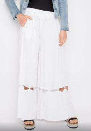 PQ Collection Hitched Wide Leg Pants in White