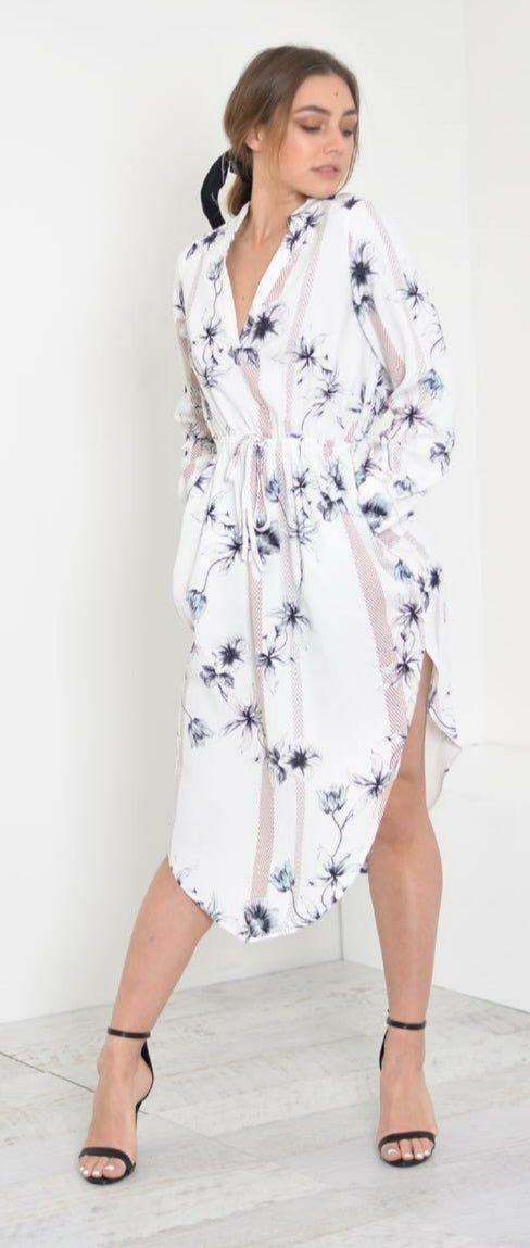 White Closet White Floral Satin Like Dress