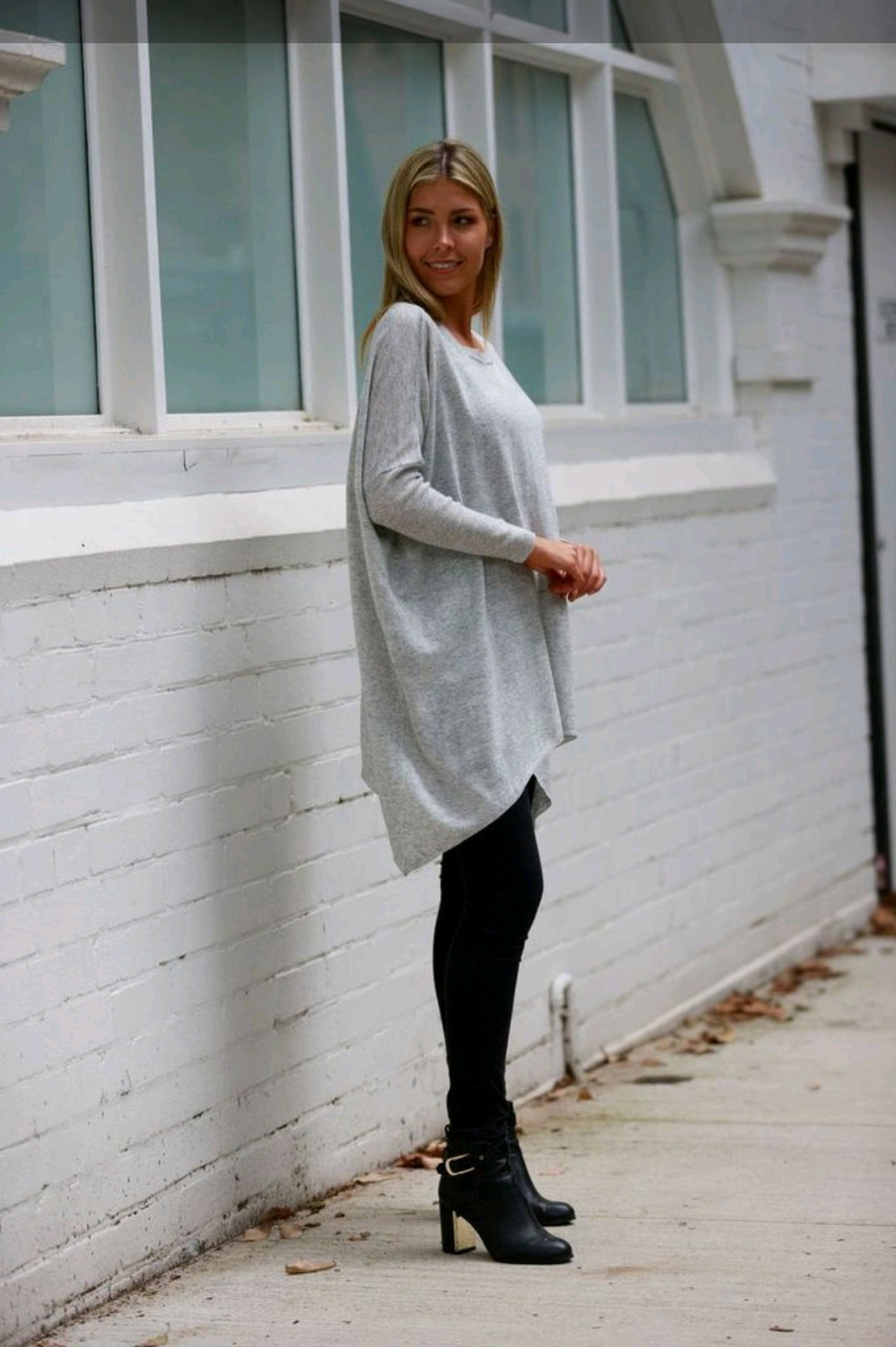 Blue Soul Light Grey Batwing Knitted Top