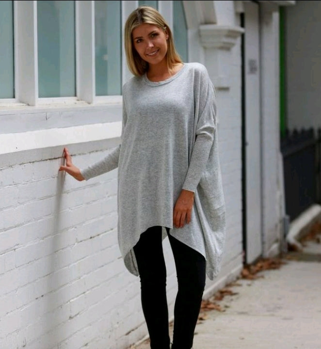 light weight, light grey long sleeve womens knitted jumper. batwing sleeves. length covers your bottom, front is long too, sides longer than front and back. Round neck, not high. very flattering. Material is 65% Acrylic 35% wool. Nice and soft.
