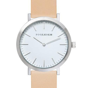 Foxleigh Silver & Creme Leather Timepiece